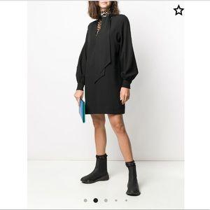 NWT Ganni black long sleeve scarf neck short dress